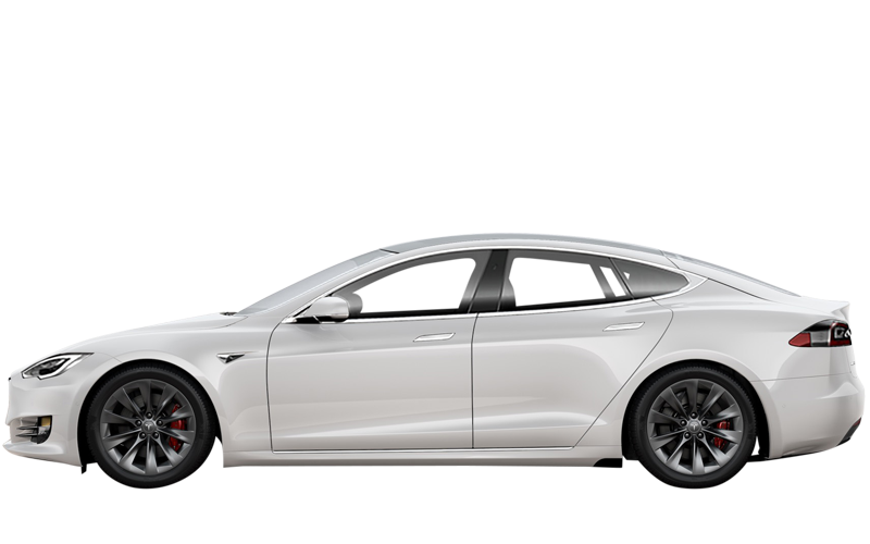 Tesla in white from the side