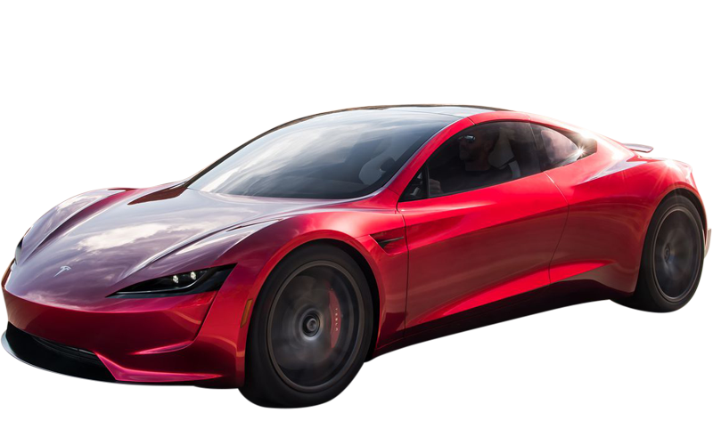 Tesla in red from the front