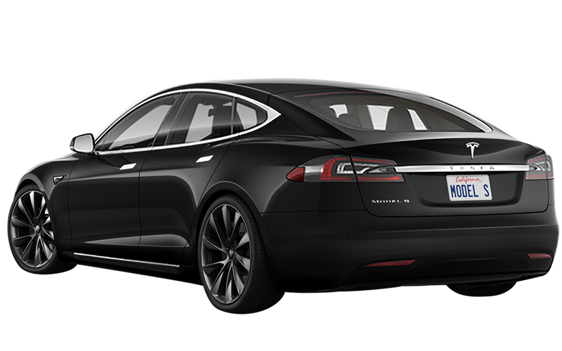 Tesla in black from the front