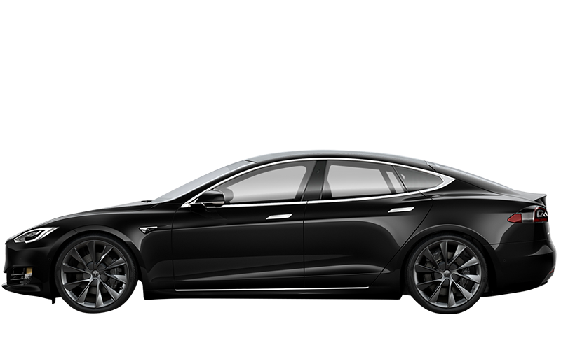 Tesla in black from the side